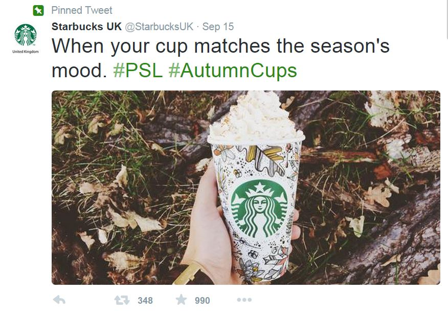 Starbucks Twitter - Pumpkin Spiced Latte and Seasonal Cups
