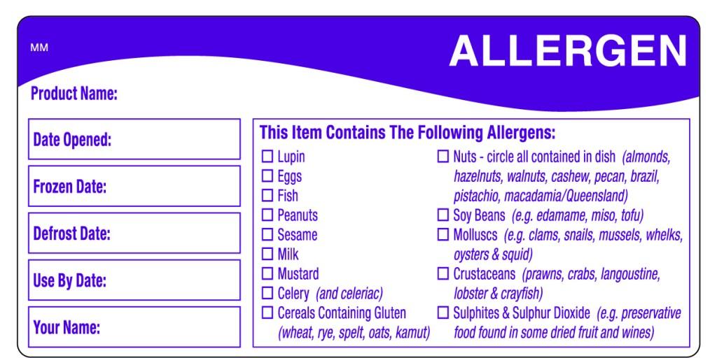 Allergen Product Label
